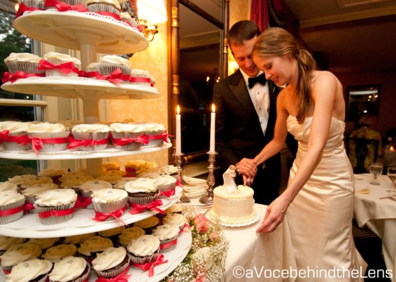 The great thing about cupcakes over cake at a wedding is that everyone's is exactly the same size, it's never dry, and it's always scrumptious!